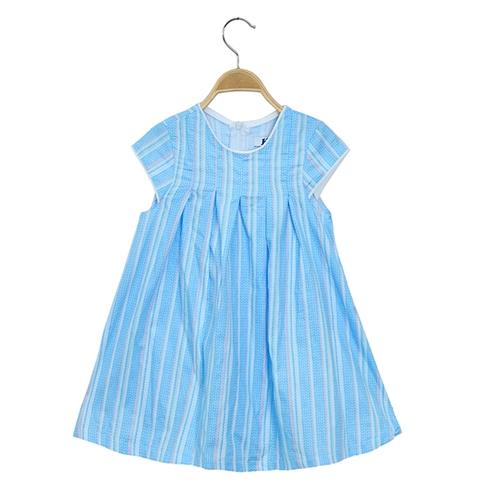 Đầm suông kate phối xếp ly cho bé màu xanh KAL20