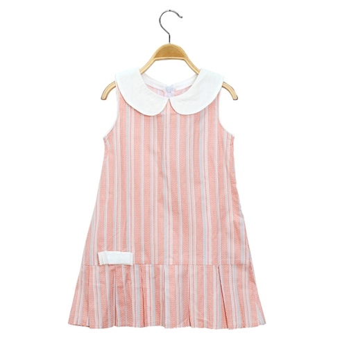 Đầm suông kate cổ Peter cho bé màu hồng KAL21
