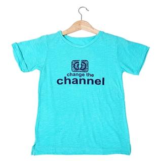Cùng Mua - Ao thun nu mau xanh hoa tiet Change The Channel MS294