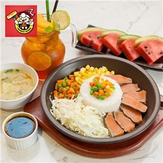 Cùng Mua - Com xeo ca hoi tuoi + Tra dao + Canh soup - Topokki House