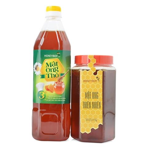 Mật ong thô Honeyboy (1000ml) và mật ong thiên nhiên (1kg)