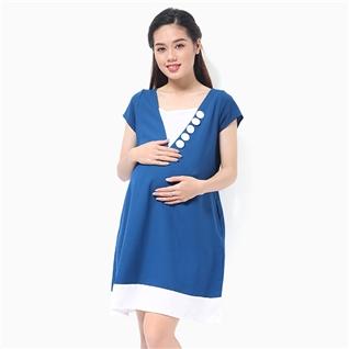 Cùng Mua - Dam bau co chu V dinh nut boc mau xanh duong MS01
