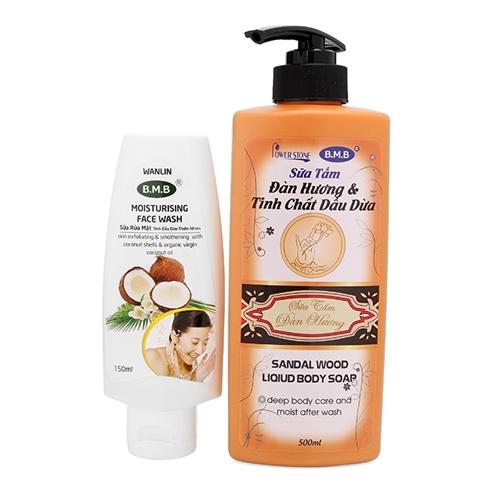 Sữa tắm đàn hương và tinh chất dầu dừa+sữa rửa mặt tinh dầu dừa