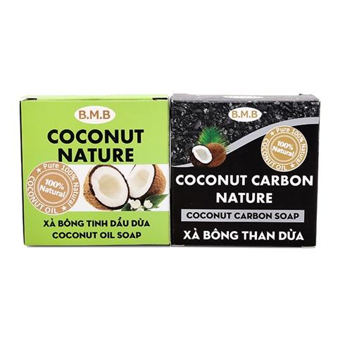Combo 2 xà bông tinh dầu dừa và xà bông than dừa B.M.B