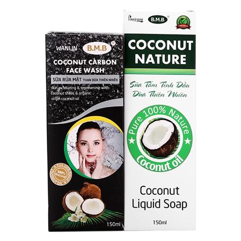 Combo sữa tắm tinh dầu dừa + sữa rửa mặt than dừa B.M.B