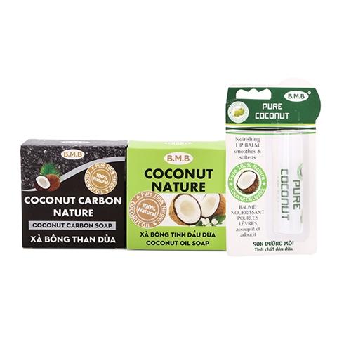 Combo 2 xà bông tinh dầu dừa, than dừa + son dưỡng môi B.M.B