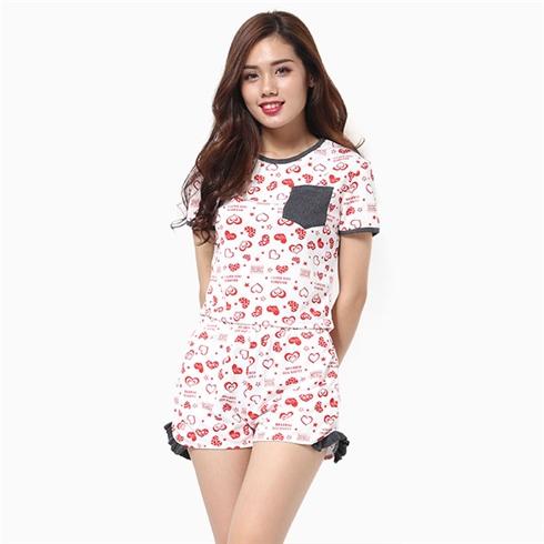 Đồ short mặc nhà cho nữ họa tiết trái tim đỏ