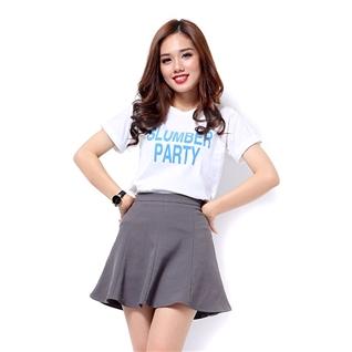 Cùng Mua - Ao thun nu tay ngan mau trang hoa tiet chu Slumber Party MS21