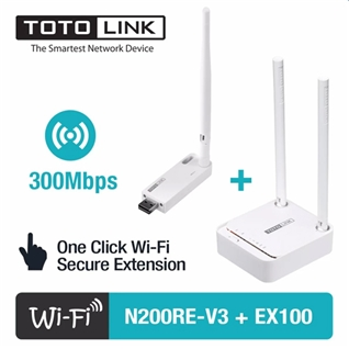 Cùng Mua - Bo phat WiFi TOTOLINK N200RE-v3 va kich song TOTOLINK EX100