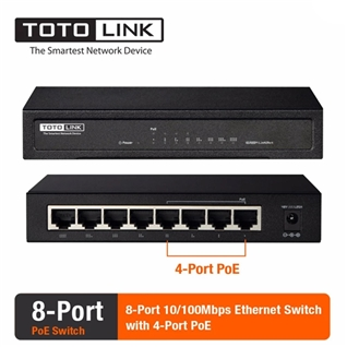 Cùng Mua - Switch 8 cong PoE 100Mbps IEEE.3af TOTOLINK SW804P