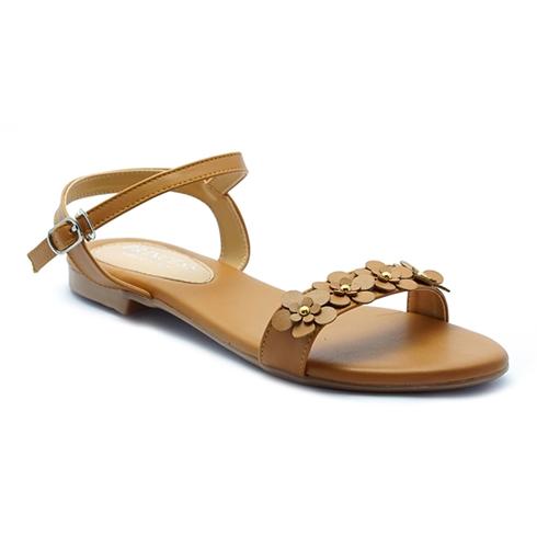 Giày sandal nữ kết hoa Princess P25N màu da bò