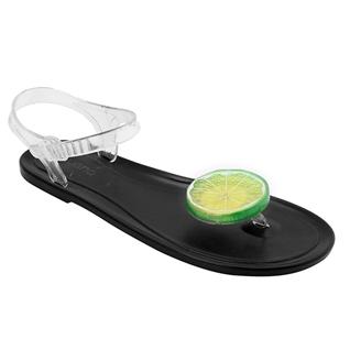 Cùng Mua - Giay sandal nhua thai mau den hinh lat chanh