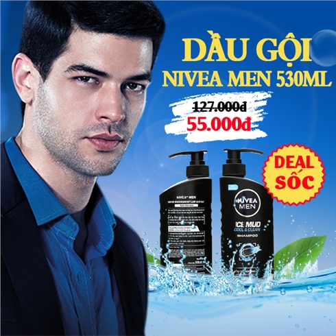 Dầu gội NIVEA Men Ice Mud Cool And Clean trị gàu 530ml