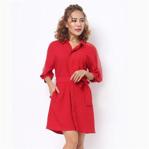 Đầm Lady phối lưới tay màu đỏ đô