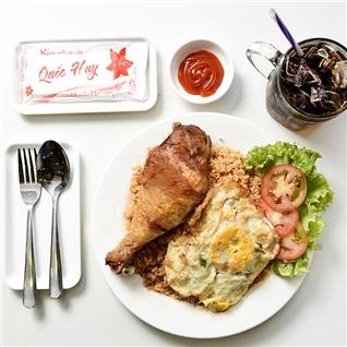 Cùng Mua - Combo com ga xoi mo va nuoc ngot tai nha hang My Vi Hong Kong