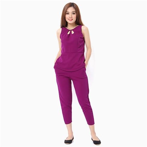 Bộ mặc nhà nữ áo sát nách thời trang màu tím