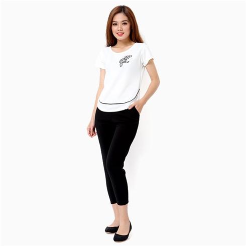 Đồ mặc nhà nữ áo in bông thời trang màu trắng - đen