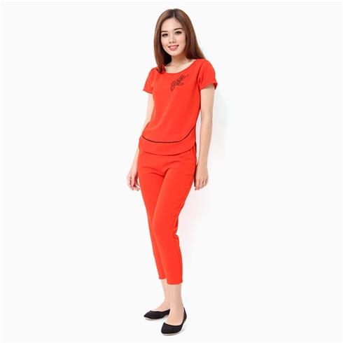 Đồ mặc nhà nữ áo in bông thời trang màu đỏ