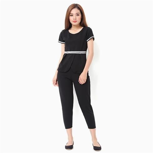 Đồ mặc nhà nữ áo viền eo thời trang màu đen