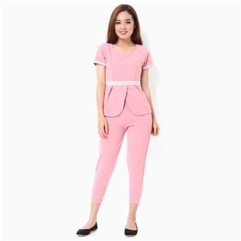 Đồ mặc nhà nữ áo viền eo thời trang màu hồng