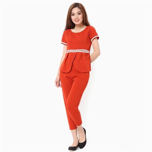 Sét đồ bộ nữ áo viền eo thời trang màu cánh gián MS06
