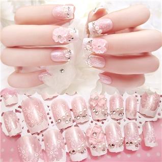 Cùng Mua - Set 24 Nails mong tay cuc xinh kem keo dan mau 380