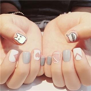 Cùng Mua - Set 24 Nails mong tay cuc xinh kem keo dan mau 372