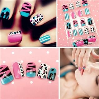 Cùng Mua - Set 24 Nails mong tay cuc xinh kem keo dan mau 387