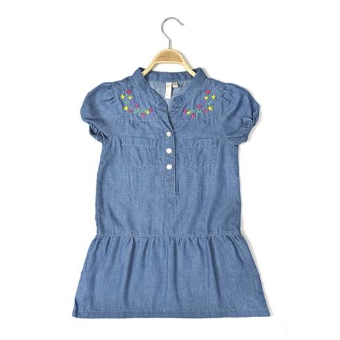 Đầm bé gái thêu cỏ mị ALE JEANS MS 50116GD
