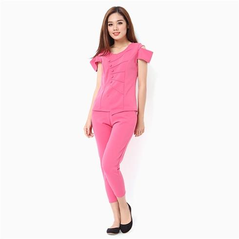 Đồ mặc nhà nữ áo đính nút thời trang màu hồng