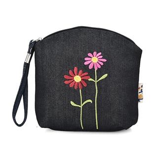 Cùng Mua - Bop cam tay theu hoa cuc doi mau xanh jean TBWIN B1705