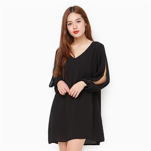 Đầm voan tay xẻ - Màu đen