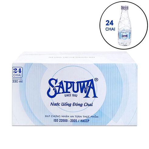 Combo 24 chai nước uống tinh khiết SAPUWA 330ml/chai - New