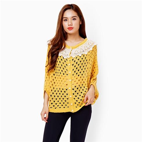 Áo len phong cách Hàn Quốc cổ phối ren - Màu vàng