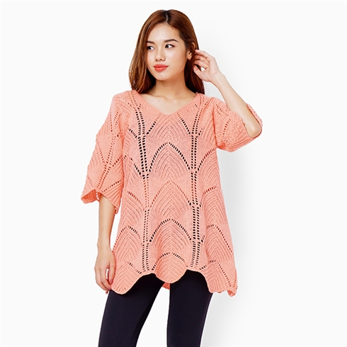 Áo len form dài - Màu hồng đào