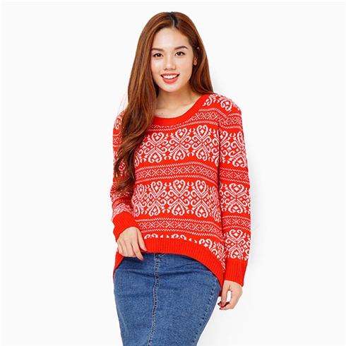 Áo khoác len chui cổ - Màu đỏ phối trắng