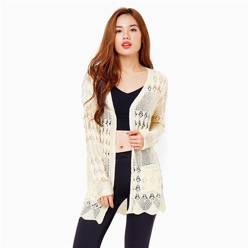 Áo khoác len Cardigan - Màu kem