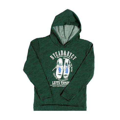 Áo hoodie unisex chất liệu vải nỉ có mũ màu xanh lục