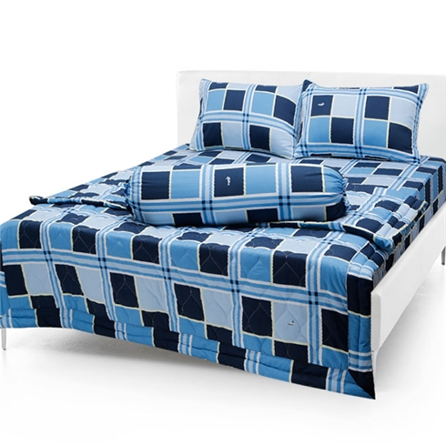 Bộ drap cotton Thắng Lợi kèm mền chần gòn mẫu 1