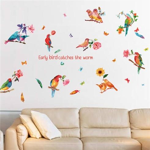 Decal dán tường họa tiết Đàn chim sắc màu PK462