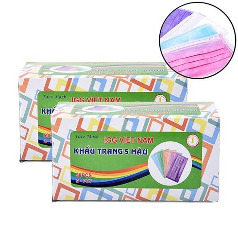 2 hộp khẩu trang kháng khuẩn 3 lớp SAIGON IGG 100 cái - 5 màu