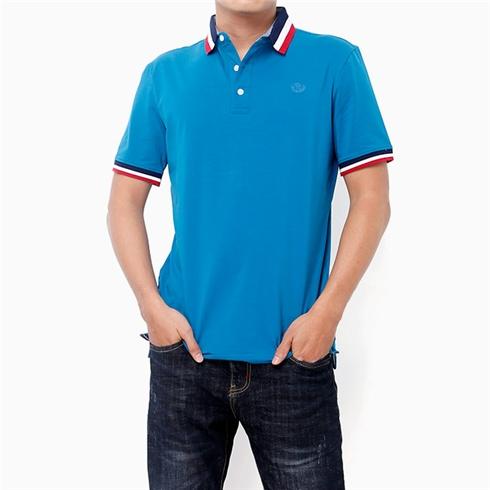 Áo thun nam cổ bẻ thời trang màu xanh