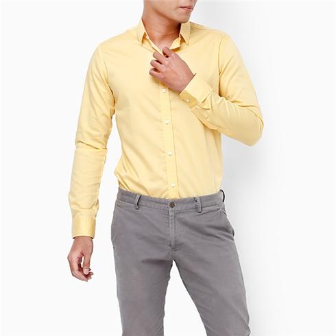 Áo sơ mi nam tay dài màu vàng
