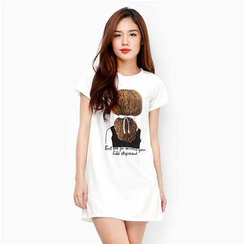Váy xinh xắn hình cô gái cột tóc màu trắng MS02