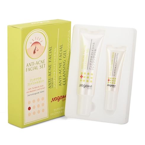Combo gel rửa mặt (30ml) và serum trị mụn (10ml) Nagano
