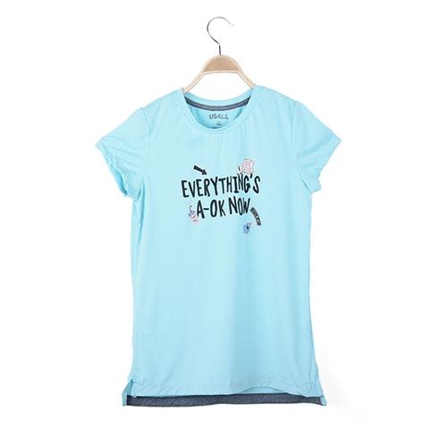 Áo thun tay ngắn xuất khẩu bé gái HT chữ màu xanh
