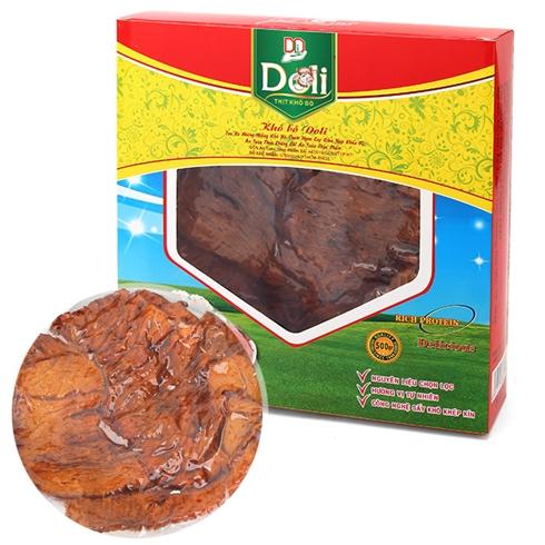 Hộp khô bò Doli cao cấp thơm cay giòn (500g/hộp) - mềm