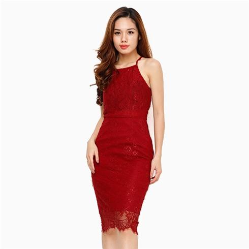 Đầm ren duyên dáng cho ban gái màu đỏ