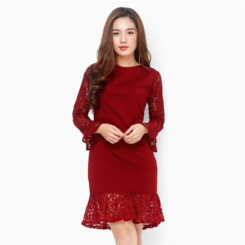 Đầm suông đuôi cá phối ren tay dài duyên dáng màu đỏ