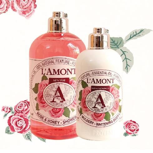 Set sữa tắm + sữa dưỡng thể L'amont En Provence Rose Mulbery